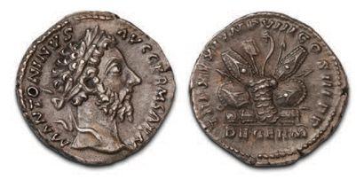 MARC AURÈLE (161-180) Denier. His head laced...