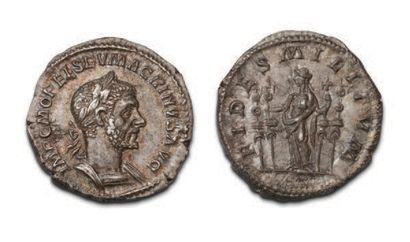 MACRIN (217-218) Denier. Son buste lauré...