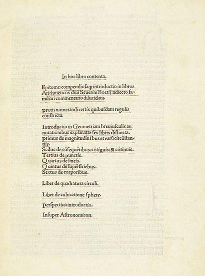 LEFEVRE D'ÉTAPLES, Jacques Epitome compendiosaque introductio in libros arithmeticos...