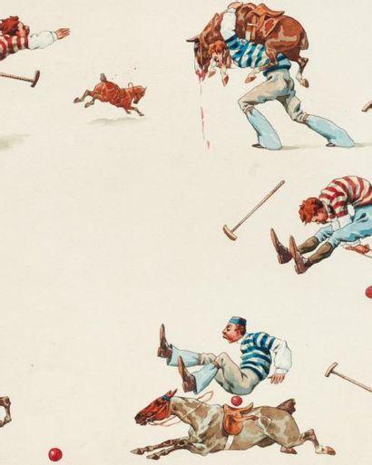CHARLES FERNAND DE CONDAMY (1855-1913) Personnages Aquarelle sur papier. Signée en...