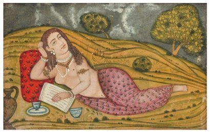 Jeune femme allongée dans un paysage. Gouache...