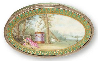 Tabatière oblongue en porcelaine à décor...