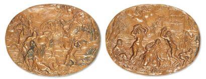 Deux plaques ovales formant pendant en cuivre...