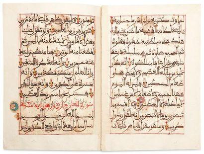 Feuillets de Coran Quatorze folios en deux...