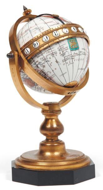 Globe navisphère terrestre en métal émaillé...