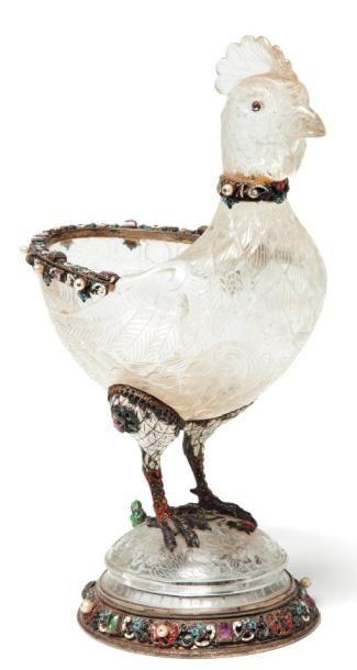 Grande coupe en forme de coq en cristal de...