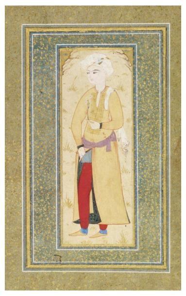 Portrait d'un prince ottoman. Gouache sur...