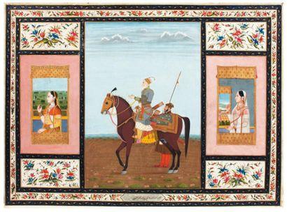 Portrait équestre du vizir Asad Khân et deux...