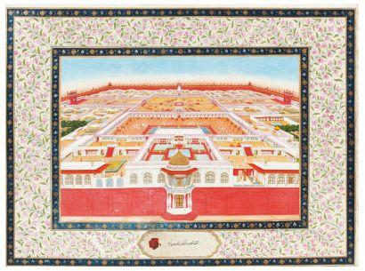 Vue cavalière du Fort rouge de Delhi signé...