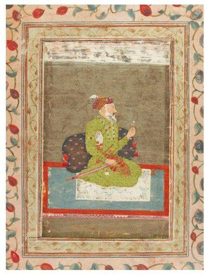 Portrait de l'empereur moghol Shâhjahân. Gouache remontée sur une page d'album plus...