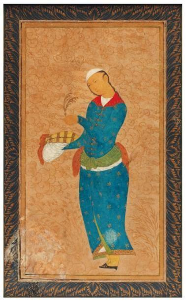 Prince persan tenant une aigrette et un turban....