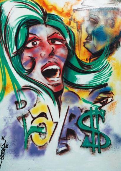 Dize Sans titre Peinture à la bombe H_150 cm L_101 cm Né en 1974, d'origine tahitienne,...