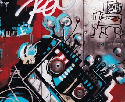 KÉO FonkiLovy, 2008 Aérosol,technique mixte sur plaque de métal :feutre peinture,...