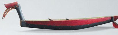 PIROGUE votive Dayak. Bornéo Bois. Peintures...