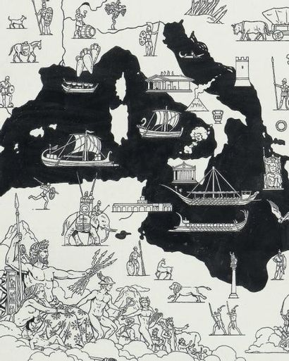 JACQUES MARTIN (1921-2010) Page de garde d'Orion. Dessin original à l'encre sur papier....