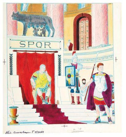 JACQUES MARTIN (1921-2010) Couverture Tintin, 6 Janvier 1949 couverture originale...