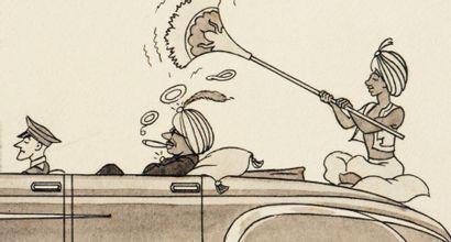 JACQUES MARTIN (1921-2010) Les rajahs roulent dans des « Delahaye » rose-saumon et...