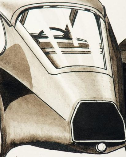 JACQUES MARTIN (1921-2010) Chronique auto du journal de Tintin: 2 dessins à l'encre...