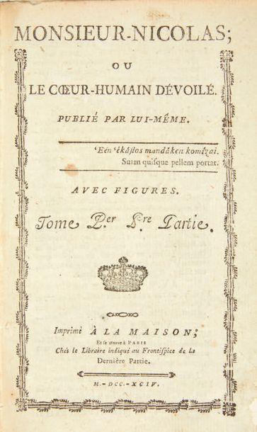 RESTIF DE LA BRETONNE, Nicolas Edme. Mr. Nicolas; or The Unveiled Human Heart. Published...