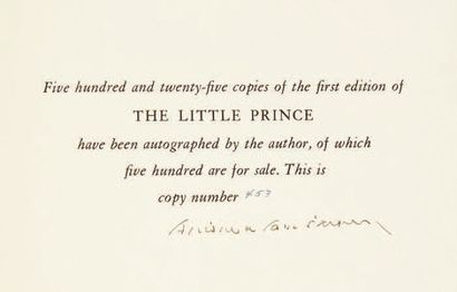 SAINT-EXUPERY, Antoine de. The Little Prince. Translated from the French by Katherine...