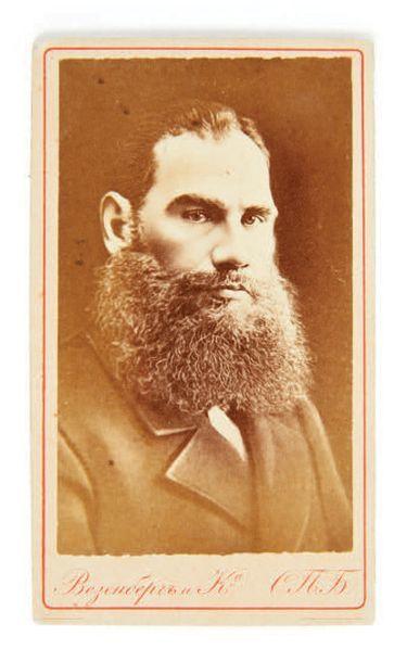 TOLSTOÏ, Léon. Business card portrait. St. Petersburg, Besenberg, circa 1870. Photograph...