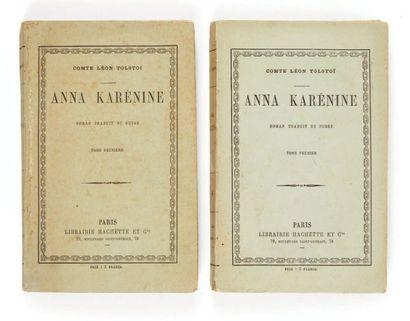 TOLSTOÏ, Léon. Anna Karenina. Novel translated from Russian. Paris, imp. Brodard...