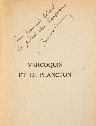 VIAN, Boris. Vercoquin and plankton. Paris, Gallimard, 1946. In-8, paperback, printed...