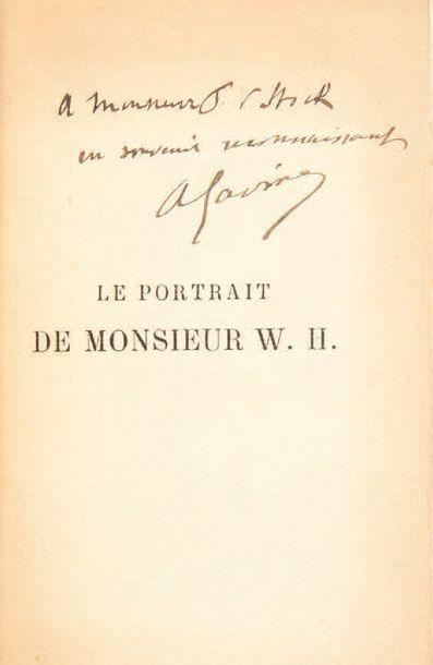 WILDE, Oscar. Portrait of Mr. W.H. Translation by Albert Savine. Paris, P.-V. Stock,...