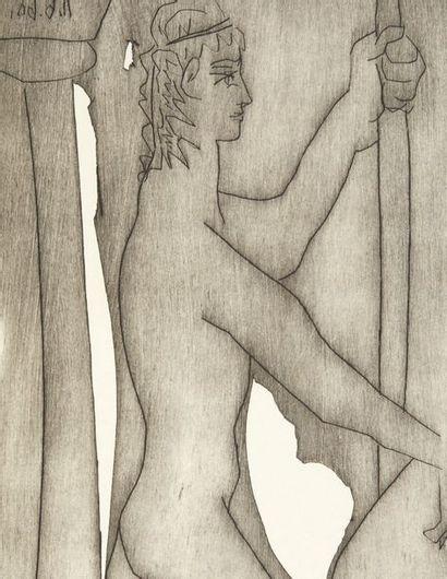 PICASSO, Pablo. PINDARE. VIIIe Pythique. Alès, PAB, 1960. In-folio° (511 x 339 mm)....