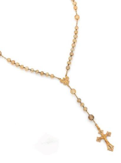 CHAPELET en or jaune 18k (750) orné de perles...
