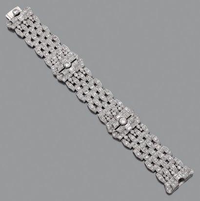 BRACELET en platine et or gris 18k (750)...