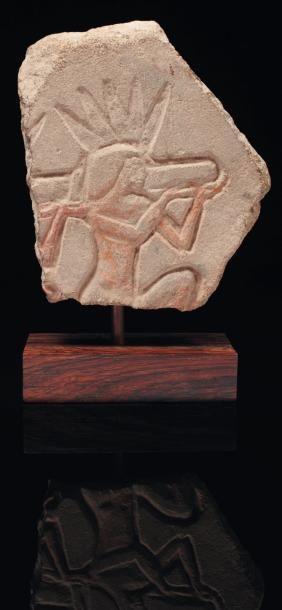 Talatate fragmentaire sculpté de porteurs...