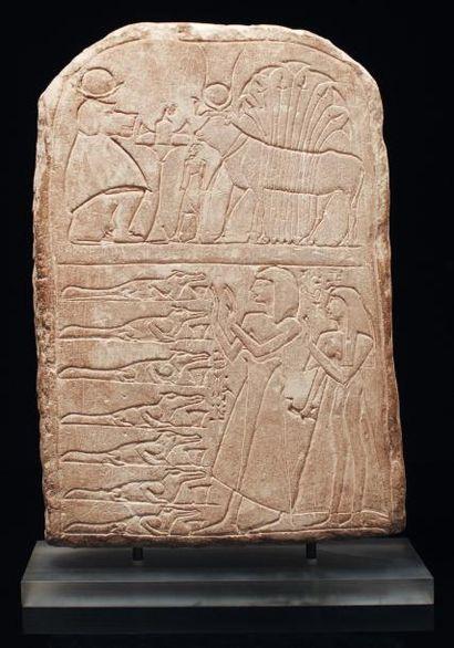 Stèle dédiée au dieu Sobek de Soumenou. Stèle...