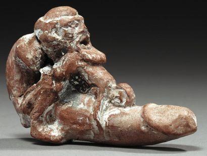 Figurine représentant un homme âgé, nu, barbu,...