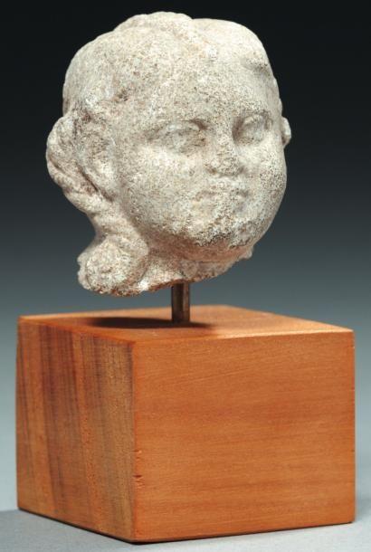 Tête de statuette représentant Harpocrate...