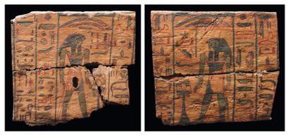 Ensemble composé de deux panneaux d'un sarcophage peints de deux des fils d'Horus...