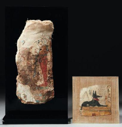 Lot composé de deux toiles de momies peintes...