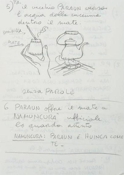 HUGO PRATT (1927-1995) El Gaucho, 1991 Crayon et technique mixte. Storyboard orignal,...