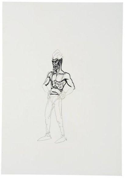 ANDREA PAZIENZA (1956-1988) « L'uomo trasversale », 1980 Crayon et feutre sur papier....