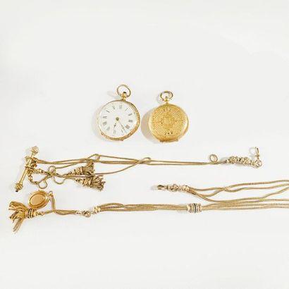 Lot de deux montres de gousset en or jaune...