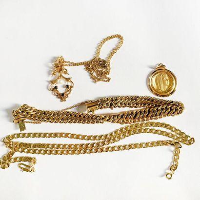 Lot d'or jaune 18k comprenant un bracelet...