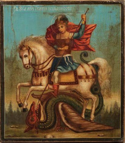 ICÔNE Saint Georges terrassant le dragon...