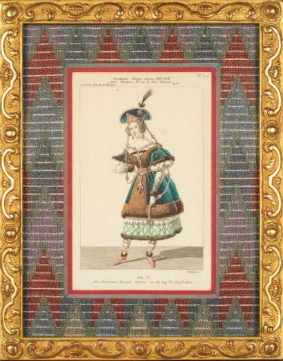 GRAVURE rehaussée titrée «Costume d'une dame...