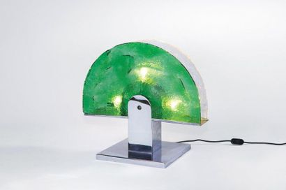Luigi MASSONI (Né en 1930) Lampe modèle «Albero» Métal chromé et verre coloré Édition...