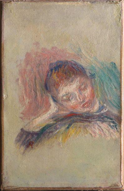 Pierre-Auguste RENOIR (1841-1919) Jeune fille, la tête appuyée sur le bras droit,...