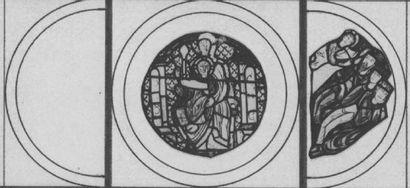 Vitrail en verres colorés représentant les Rois Mages dans un arc de cercle. Ils...