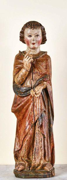 Ange thuriféraire en tilleul sculpté, polychromé...