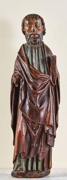 Saint Apôtre (saint Pierre ?) en chêne sculpté...