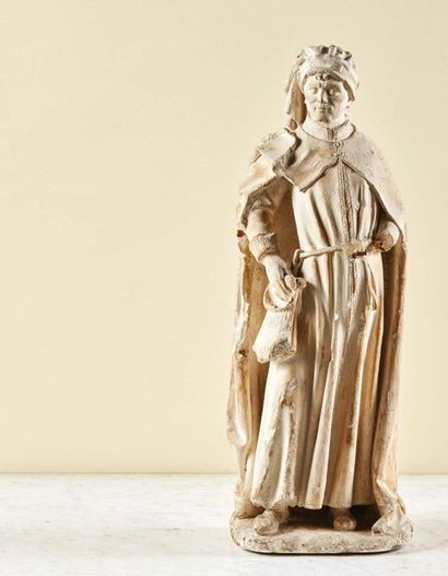 Saint Bavon en pierre calcaire sculptée,...