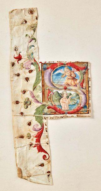 Lettrine d'antiphonaire enluminée avec rehauts d'or sur vélin, initiale S illustrant...